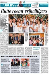 Artikel in Telegraaf: Rutte roemt vrijwilligers